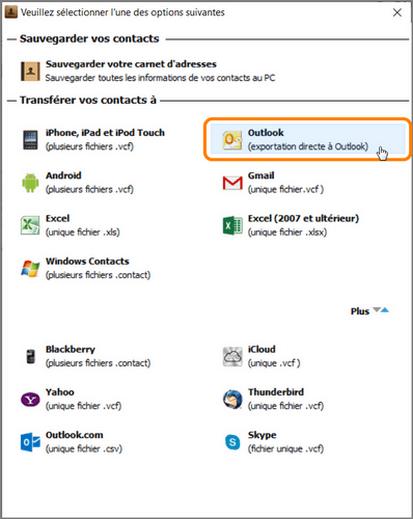 Choisissez Outlook comme format d importation