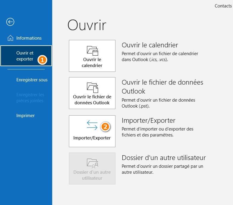 Importer contacts dans Outlook.com