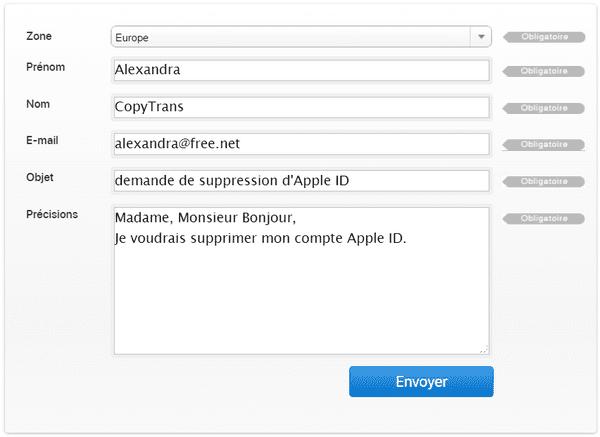 remplir le formulaire pour supprimer identifiant Apple