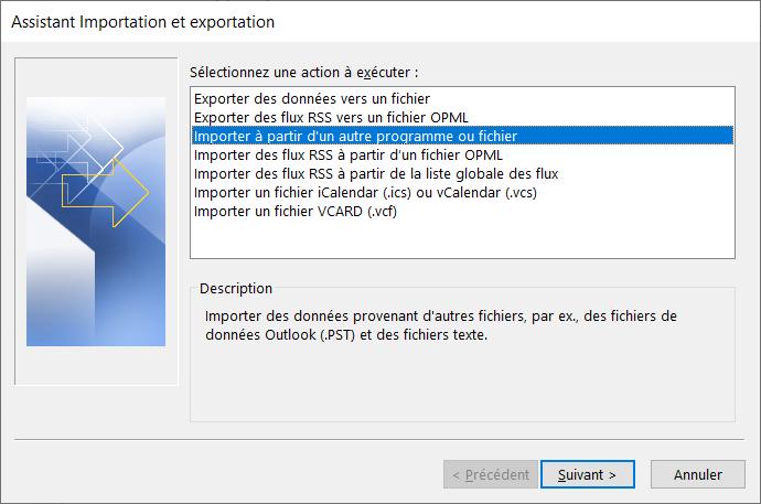Choisissez d'importer depuis programme ou fichier