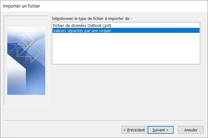 Choisissez le type de fichier à importer