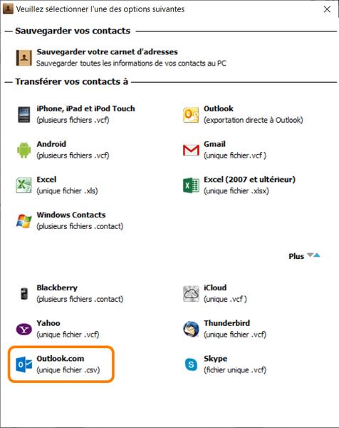 Exporter les contacts iPhone vers un fichier Outlook