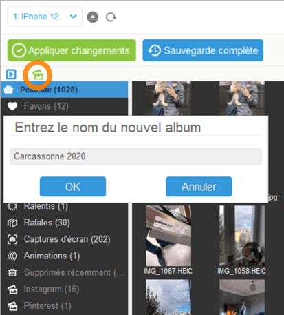 Créer un album dans iPhone depuis CopyTrans Photo