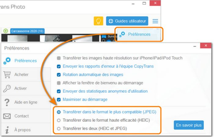 Choisir le format du transfert dans CopyTrans Photo