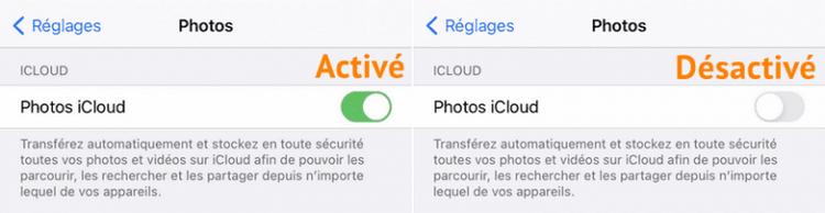 comment activer photos icloud sur iphone