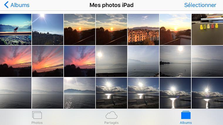 Photos transferees depuis PC sur iPad