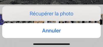 récupérer la photo supprimee sur l'iPhone