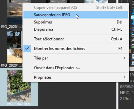 Sauvegarder les photos transferees sur PC en JPEG