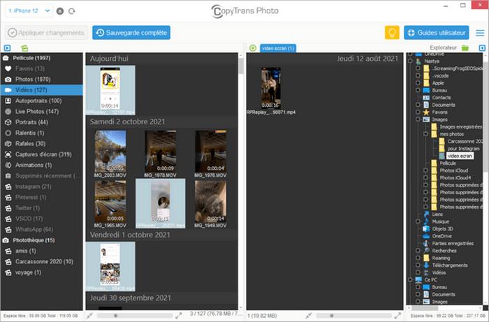 Vous pouvez transferer vos videos enregistrees vers le PC a l aide de CopyTrans Photo