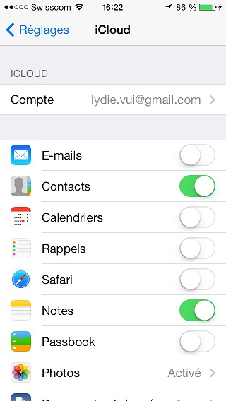 synch icloud contact