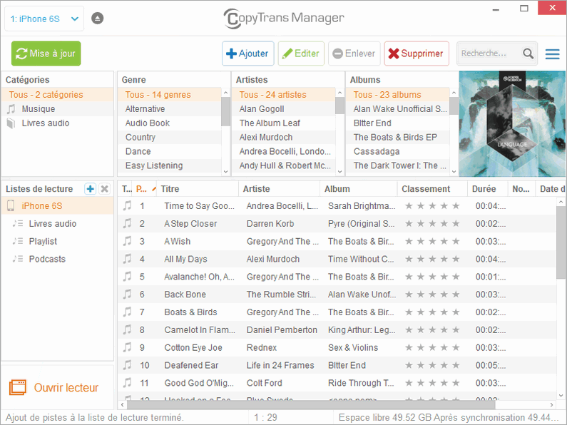 CopyTrans Manager interface