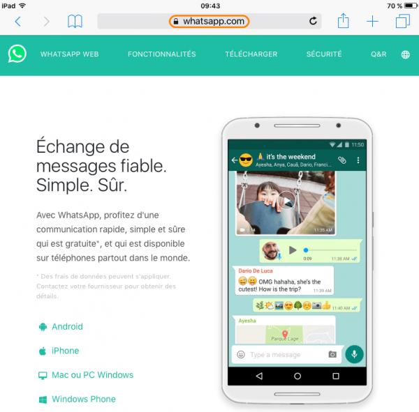 Page d'accueil WhatsApp en ligne