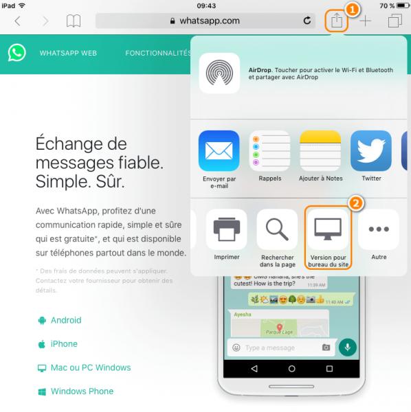 Comment ouvrir une version pour bureau du site sur l'iPad
