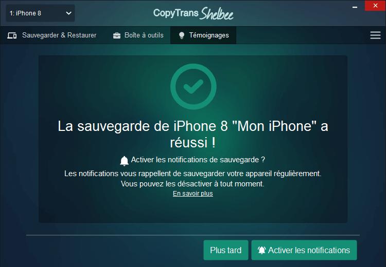 Sauvegarde iPhone réussie