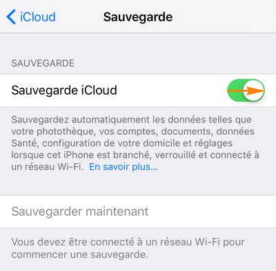 activer sauvegarde dans iCloud