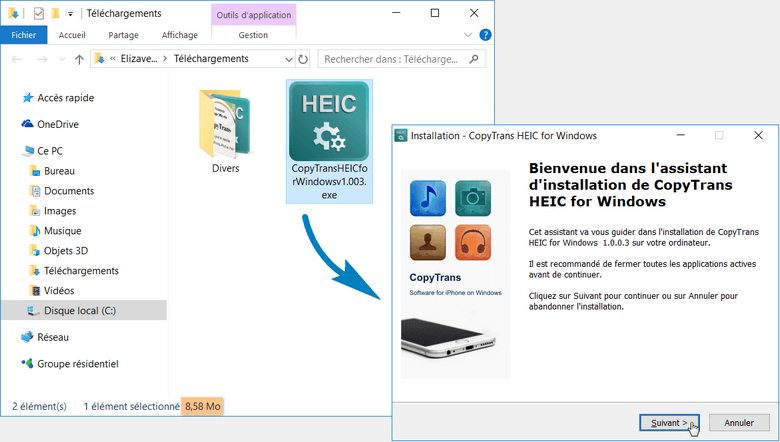installer codec HEIC pour Windows
