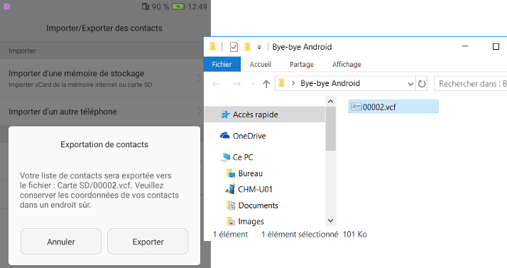 contacts vcard vcf sur le pc