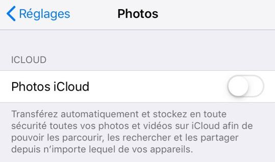Photos iCloud réglage dans iPhone