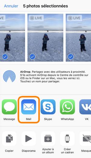 Envoyer photos par mail