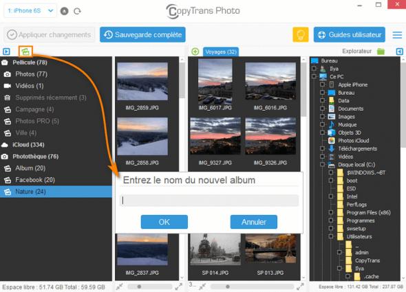 Créer un album photo dans l'iPhone