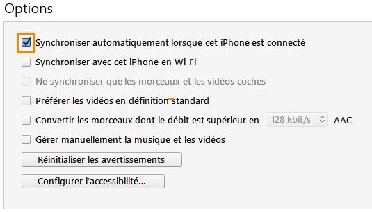 Désactiver la synchronisation automatique dans iTunes