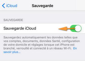 Désactiver sauvegarde iCloud