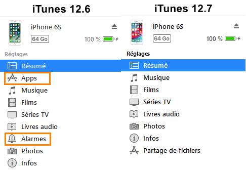Comparaison du menu principal des différentes versions d'iTunes