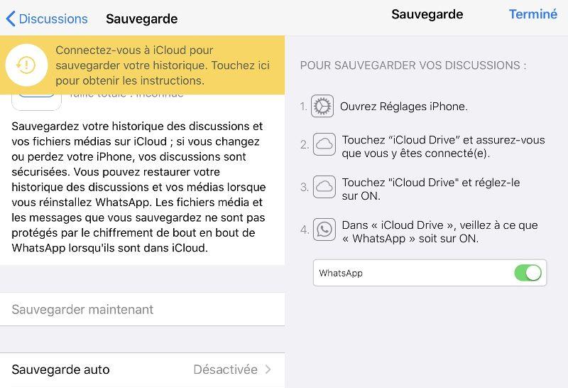 Sauvegarde WhatsApp désactivée sur iPhone