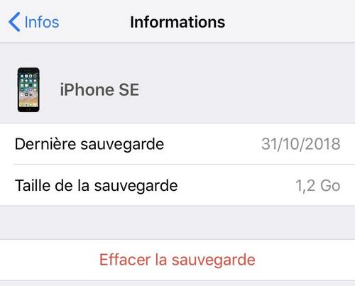 Supprimer sauvegarde iPhone