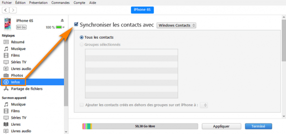 Synchroniser les contacts de l'iPhone avec iTunes