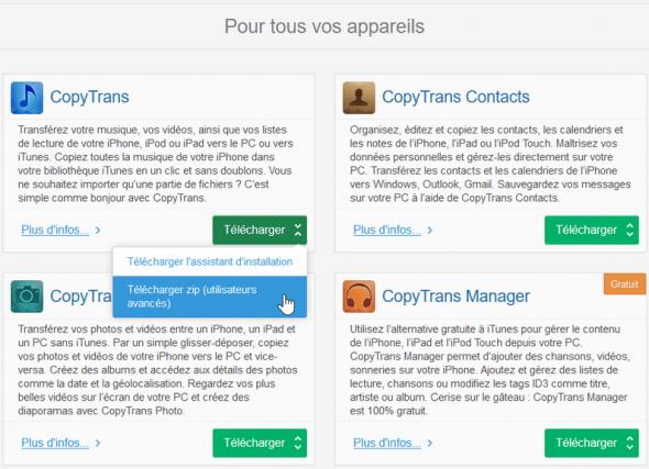 Télécharger une version .zip du logiciel CopyTrans