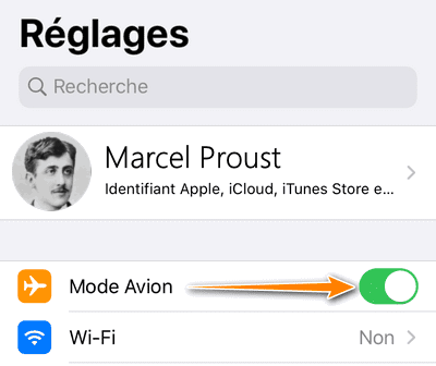 Activer le mode avion iPhone