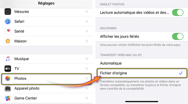 Transfert fichier d'origine iPhone
