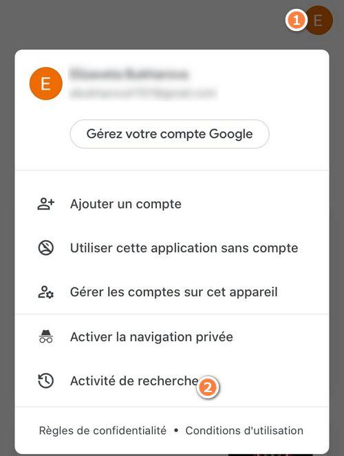 Effacer activité Google