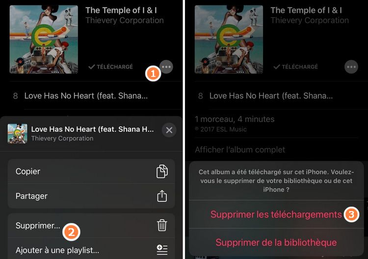 Effacer Apple Musique depuis iPhone