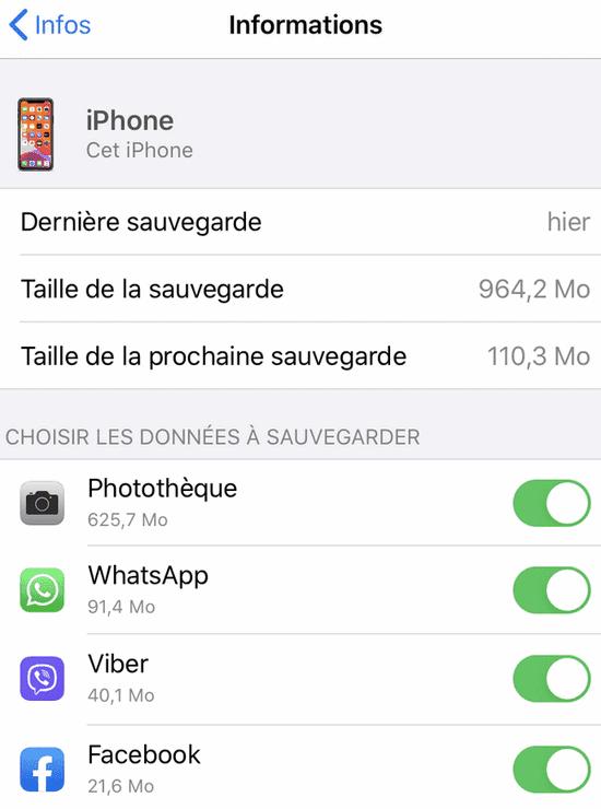 Apps utilisant iCloud (réglages iPhone)