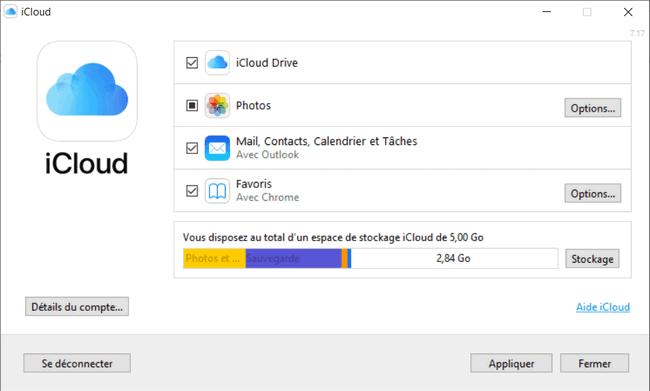 Liste de données dans iCloud pour Windows
