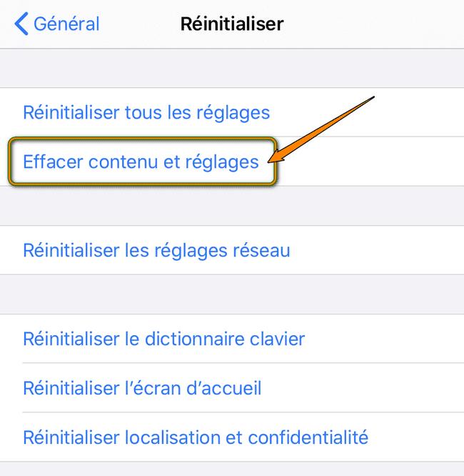 Effacer contenu et réglages (iPhone)
