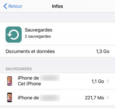 Liste de sauvegardes iCloud (réglages iPhone)
