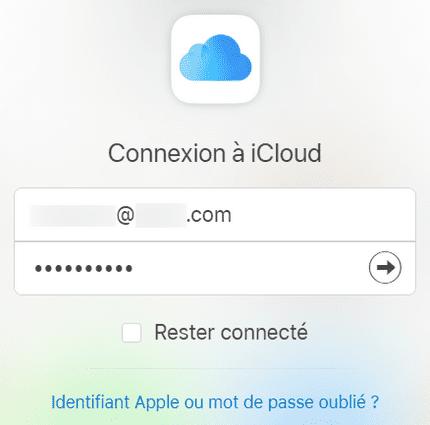 Connexion à iCloud via icloud.com