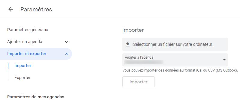 importer calendriers à google depuis le PC