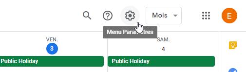 Paramètres Agenda google