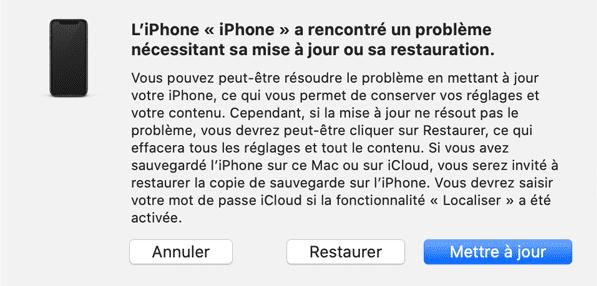 iPhone en mode de récupération