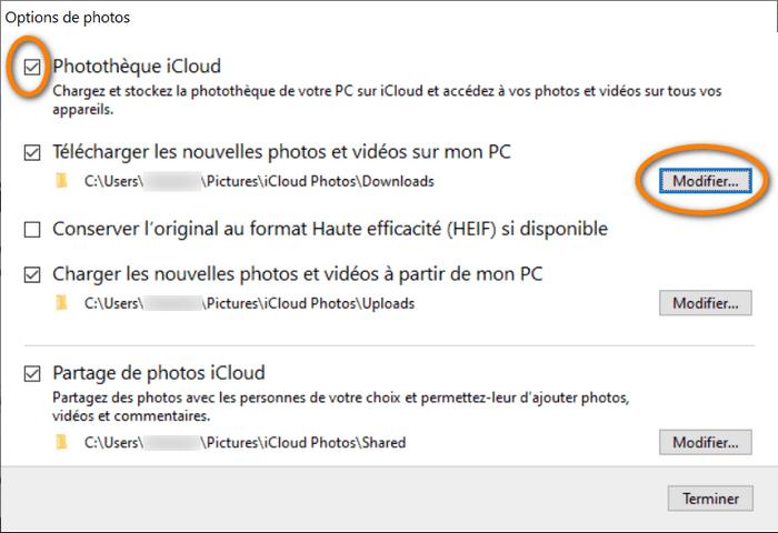 iCloud pour Windows : gérer les options des photos
