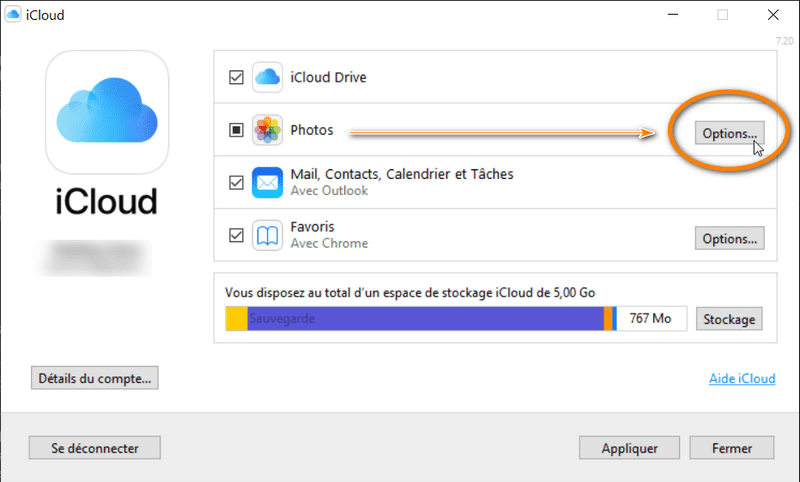 Options des photos dans iCloud pour Windows