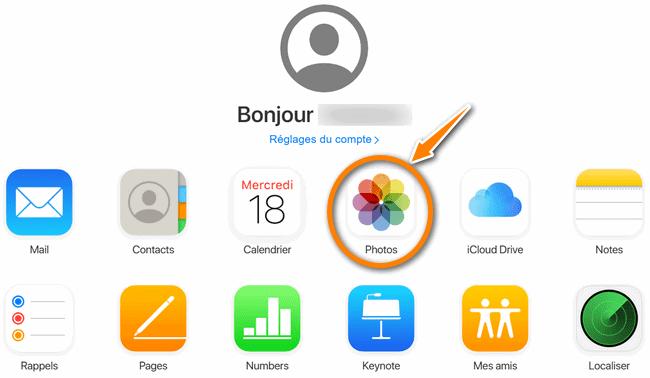 Sélectionner l'application Photos sur iCloud.com