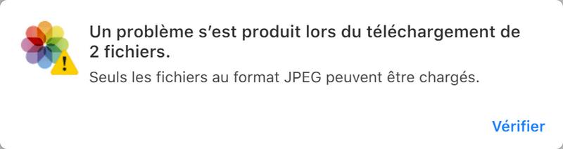 Seuls les fichiers au format JPEG peuvent être chargés