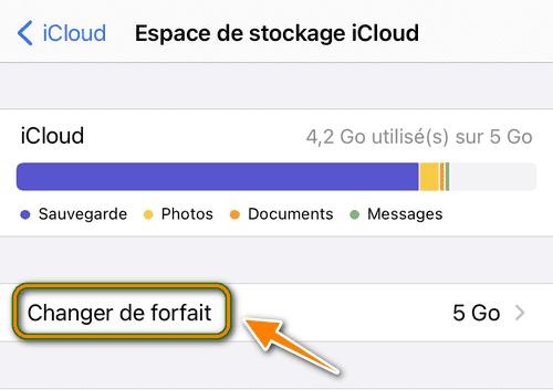 Changer de forfait iCloud depuis iPhone