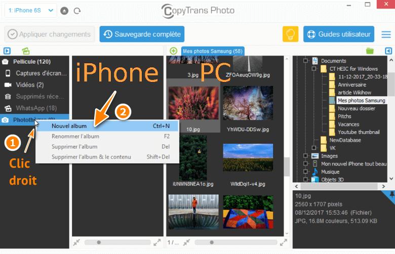 Créer un album dans CopyTrans Photo