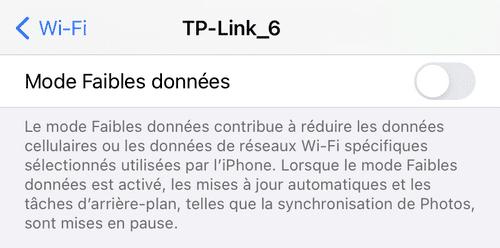 Mode faibles données iPhone